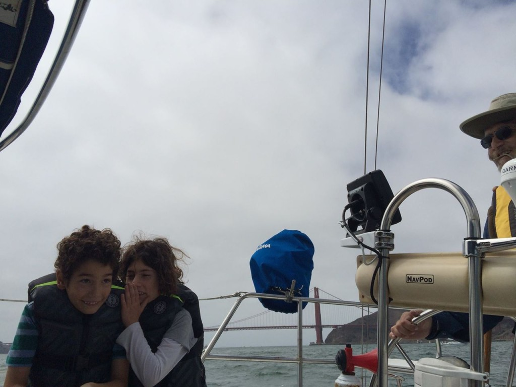 The Watenpaugh twins and their father sail the San Francisco Bay