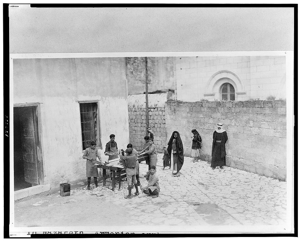"Near East Relief, ""Armenian orphan wards of Near East Relief doing carpentry in courtyard of chapel in Nazareth, Palestine"" ca. 1915-16 (LOC)"