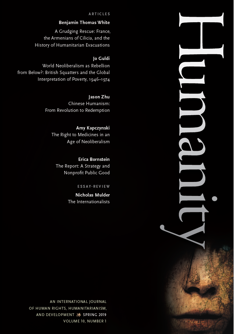"Front cover of Humanity issue 10, volume 1. A black background with white text listing the authors and articles therein. The word ""Humanity"" in large white letters runs vertically down the right side of the cover."