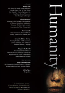 "Front cover of Humanity issue 10, volume 2. A black background with white text listing the authors and articles therein. The word ""Humanity"" in large white letters runs vertically down the right side of the cover."