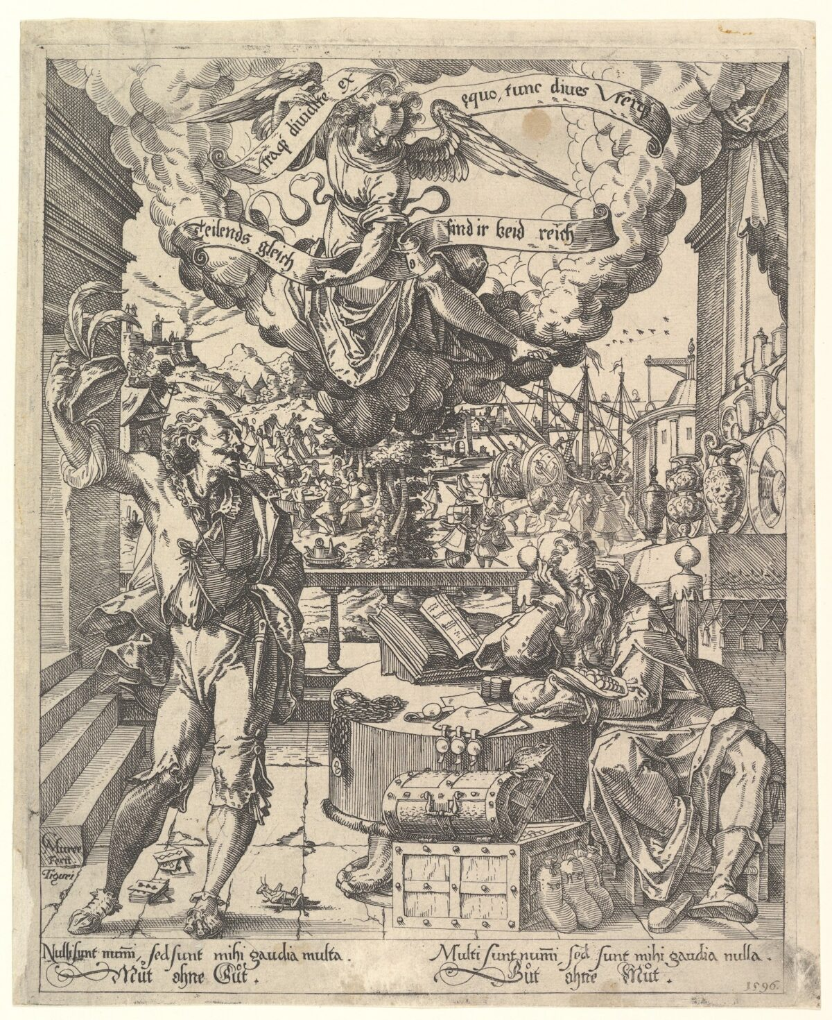 A sixteenth century etching depicting allegorical representations of wealth and poverty.